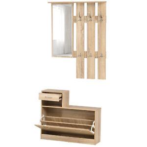 3-in-1 Garderobenset Flurgaderobe mit Schuhschrank Garderobe Wandspiegel