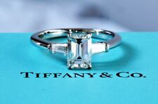 Tiffany & Co 1.44Ct Diamond Platinum Emerald 3 Stone Engagement Ring F VS1 £27k