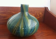 Art Glass Green Vase with Black Sripes Unsigned Original