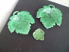 Sarreguemines Vintage Céramique Vides poches Feuilles vert design'S 50