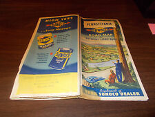 1951 Sunoco Pennsylvania Vintage Road Map