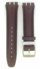 Brown Genuine Leather 19mm Replacement Padded Watch Strap For Swatch