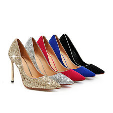 Women's Sexy High Heel Pointed Shoes Gold/Silver Glitter Pumps AU Size 2~10 D605