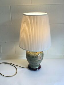 Table Lamp With Shade Attractive Ginger Jar Ceramic Light 1980s Green Free Post