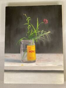 "Honey Jar (Vintage)"" Still life oil painting, Signed Original on Wooden Panel"