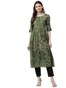 Indian Women Green Ethnic Motifs Printed Kurta Kurti A-Line New Dress Top Tunic