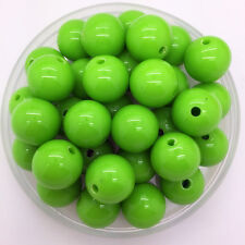 New 20mm 10Pcs Green Acrylic Round Beads Bubblegum For Jewelry Pendant Making