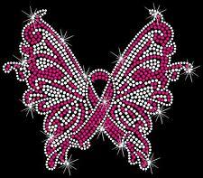 Butterfly Breast ANY Cancer Ribbon Hotfix Iron On Rhinestone Shirt Transfer