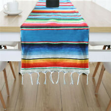Mexican Serape Tablecloth Table Runner Table Cover Fringe Cotton Wedding Decor