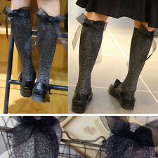 3PC Grey Glitter Soft Long Under Knee High Sock with Black Bow Retro Lolita OS