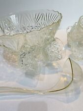 Vintage Punch Bowl And Twelve Punch Cups With Ladle Heavy Cut Glass