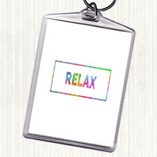 Relax Boxed Rainbow Quote Bag Tag Keychain Keyring