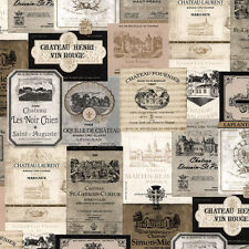 French Wine Labels Wallpaper Gold & Black  KK26753 Double Roll