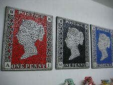 Penny Black , Red and Blue set of three Mosaic Stamp design Art
