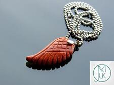 Gold Sandstone Gemstone Angel Wing Pendant Necklace Chakra Healing Stone Reiki