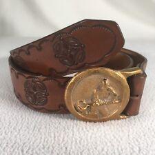 "Metal Worker Belt Buckle With Leather Belt Brass Buckle No Holes In 42"" Belt"