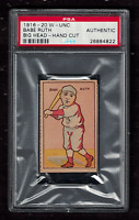 1916-20 W-UNC Big Head Strip Card Babe Ruth Hall of Fame Rookie - PSA Authentic