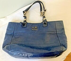 Navy Blue Coach Leather Handbag Metal Accents USED GOOD