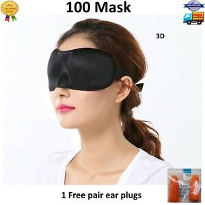 100x 3D Eye Mask Sleeping Shade Cover Blindfold Rest Relax Travel Sleep Aid