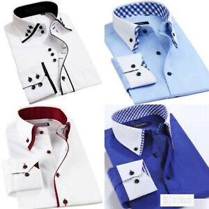 Italian Men's Casual / Formal Plain Smart Long Sleeve Shirt