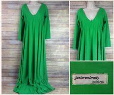 Vintage Junior Maternity of California Long Formal Dress Sz 6 S or M Green 70s