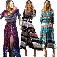 Womens Boho Floral Split Long Maxi Dress Summer Beach Casual Dresses Plus Size