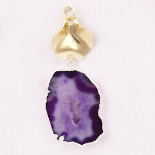 Purple Natural Geode Slice Silver Gold Plated Fancy Pendant DIY Connector