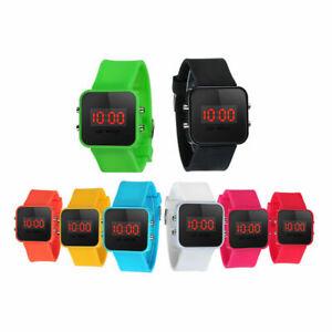 Digital LED Wrist Watch Unisex Men Women Kids School Boys Girls 12 Colours UK
