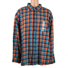 4XL Flannel Men's Shirt The Foundry Supply LONG SLEEVE Plaid Cotton ORANGE GREEN