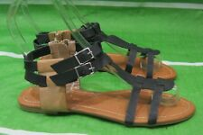 new antique look Summer Black/Brown Womens Shoes Flat Sexy Sandals Size 8