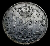 PHILIPPINES 1868 50 Centavos  Queen Isabel Spanish Colonial Coin R6i-52-218