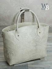 Made in Italy Tragetasche Damentasche Handtasche Prägung ECHT LEDER Beige 017BE