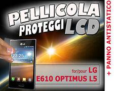 Pellicola protezione LCD per LG ELECTRONICS E610 OPTIMUS L5 + PANNO ANTISTATICO