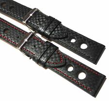 Black Rally carbon fibre leather watch strap + coloured stitch. 18mm to 24mm