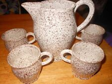 Ceramic Speckled Pitcher and 4 Mugs