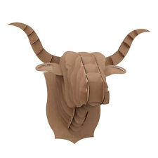 Bull Cow Head 3D Puzzle Jigsaw Brown Paper Animal Toy Model Wall Mount Decor