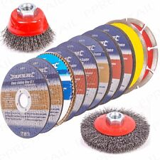 PREMIUM 12Pc MIXED GRINDING/CUTTING DISCS SET Angle Grinder Kit Brush/Cups/Wheel