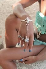 Don Biu Sterling Silver Rose Quartz Hand Chain Ring - Bracelet Cuff Chain Ring