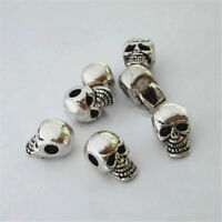 10pcs Antique Silver Skull Head Spacer Beads Jewelry Bracelet Findings 4mm Hole