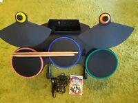 WII WORLD TOUR BUNDLE  -DRUMS - GAME- MICROPHONE-AND PEDAL