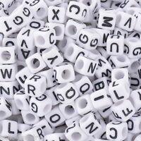 500 Neu Weiß Schwarz Buchstaben Acryl Würfel Perlen Spacer Beads 6x6mm