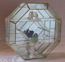Large Octagon FROSTED STAINED GLASS & BRASS mirrored CURIO CABINET display