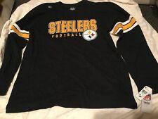 Mens Pittsburgh Steelers Long Sleeve Black Shirt NFL Team Apparel Football XL
