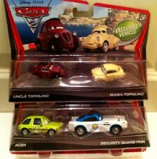 """Disney PIXAR CARS 2 PACK Sets """"Uncle & Mama Topolino & Acer & Security Finn"""" NEW"""