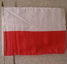 Stick Flag 12x18 with Car Window Clip or Hand Held International Poland NEW