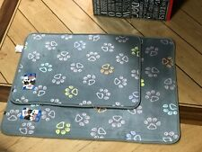 Puppy / Dog Bed Mat Grey with Paw prints Ideal for crates beds or whelping pen