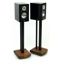 MOSECO 6 Black and Dark Bamboo Speaker Stands