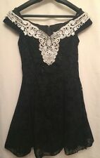 VTG 80's Zum Zum Black Prom Dress W/ White Crochet Lace Pearl Beading Glitter