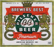 Scarce 1940s American Brewers Best Beer label Tavern Trove Baltimore MD