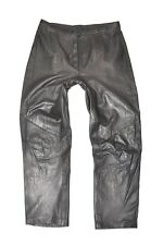"Black Real Leather Straight Leg Women's Jeans Pants Trousers Size W33"" L28"""